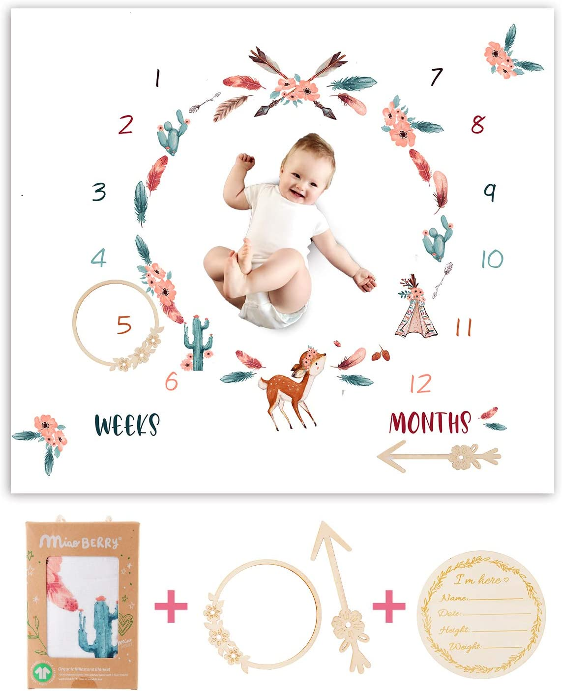 Organic Baby Monthly Milestone Blanket Newborn Boho Deer Girl| Fawn Cactus Teepee Tribe Baby Nursery Month Picture Blanket| Growth Photography Background Prop| Woodland Friends Animals