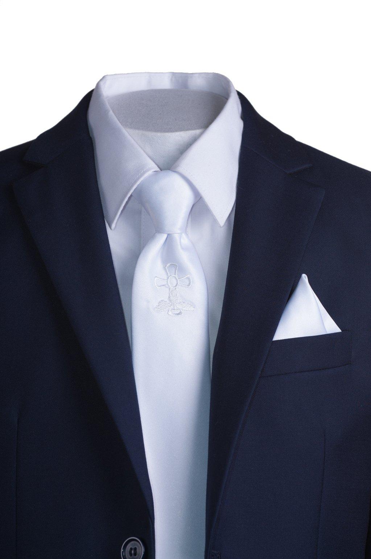 Boys Slim Fit Navy Suit, White Communion Cross Tie, Suspenders & Handkerchief (10 Boys) by Tuxgear (Image #5)