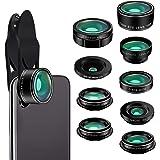 Phone Camera Lens Kit 9 in 1 Zoom Universal Telephoto Lens+198° Fisheye lens + 0.36 Super Wide Angle Lens + 0.63X Wide Lens +20X Macro Lens + 15X Macro Lens + CPL + Kaleidoscope Lens + Starburst Lens