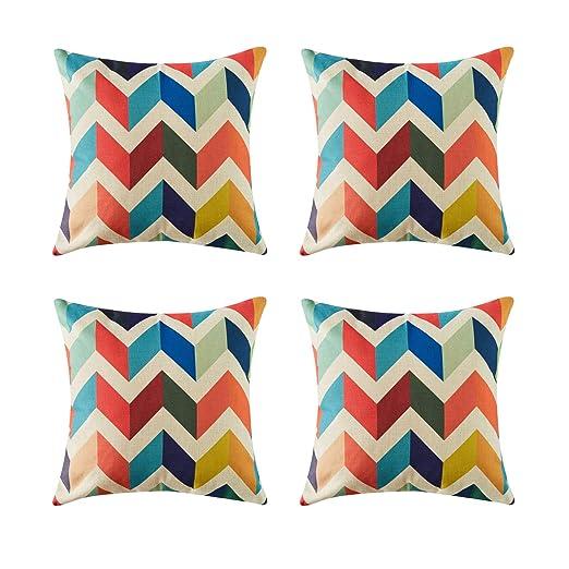 Topfinel geométrico Lino Fundas Cojines para Cama Decorativos Almohadillas para Sillas Sofa Conjunto de 4,45 x 45 cm,Barrera