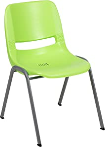 Flash Furniture HERCULES Series 880 lb. Capacity Green Ergonomic Shell Stack Chair with Gray Frame