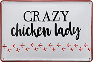 """Creative Co-Op """"Crazy Chicken Lady"""" Enameled Tin Wall Décor"""