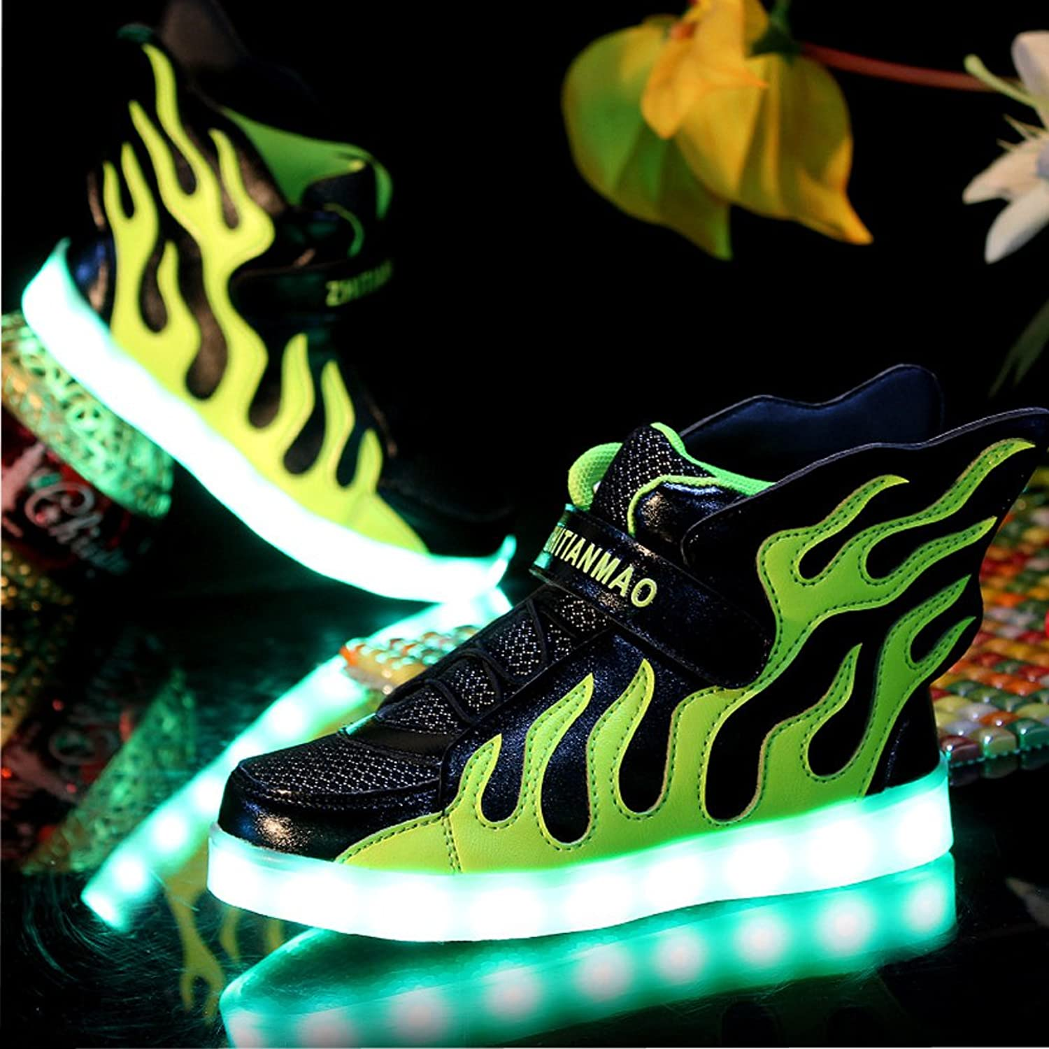 Tricanide Kids 7 Colors USB Charging LED Flashing Sneaker High Top with Flame  Elements: Amazon.ca: Shoes & Handbags