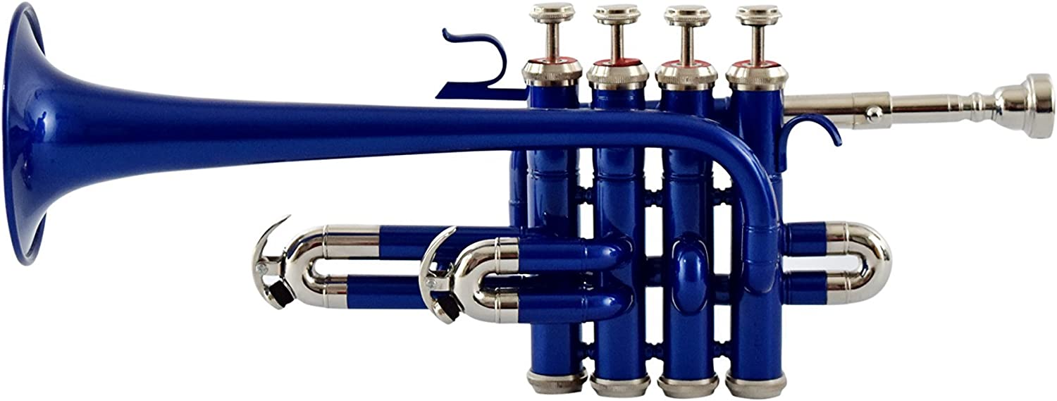 Blue Colored Moonflag Picollo Trumpet Bb Pitch With Free Hard Case And Mouthpiece