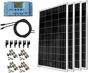 WindyNation 400 Watt Solar Kit: Four pcs 100 Watt Solar Panels + 30A P30L LCD PWM Charge Controller + Mounting Hardware + 40ft Cable + Connectors. RV's, Boats, Cabins, Camping Off-Grid