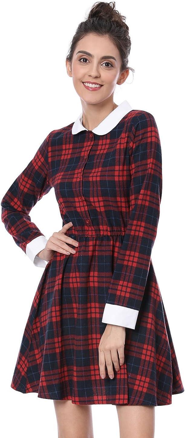 Allegra K Damen A Linie Bubikragen Colorblock Karo Minikleid Kleid