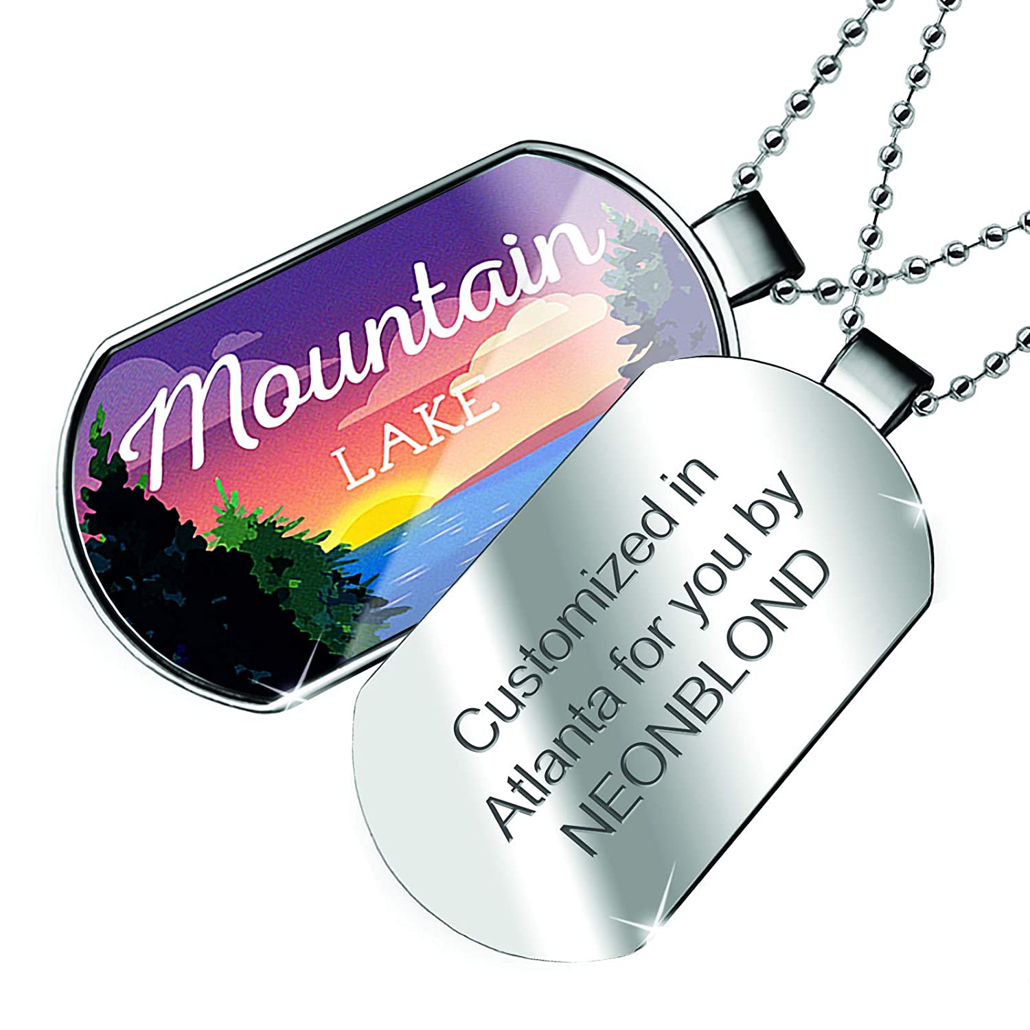 NEONBLOND Personalized Name Engraved Lake Retro Design Mountain Lake Dogtag Necklace