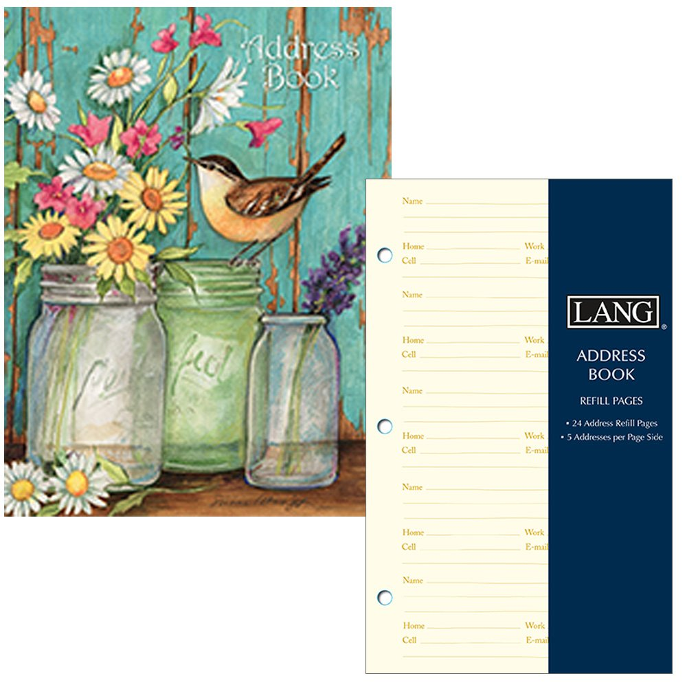 Address Book for Women - Bird Floral Mason Jar Design - Three Ring Binder with Tabs - Holds 600 Addresses - Includes Refill Pages for 240 More Addresses by Lang Company