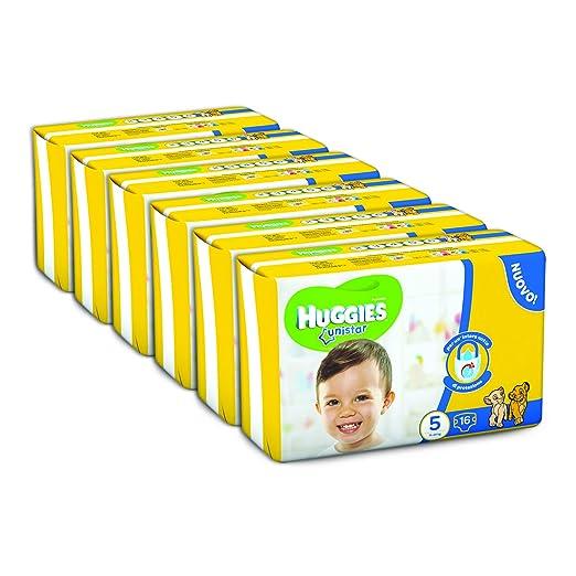 31 opinioni per Huggies Unistar Pannolini, Taglia 5 (11-19 kg), 6 Confezioni da 16 [96