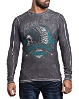 Affliction Men Thermal Shirt Reversible Indian Skull Eagle Wing Long Sleeves