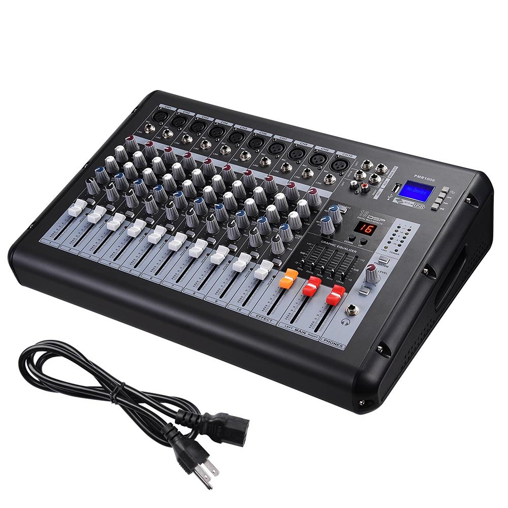 AW 10 Channel 4000 Watt Pro Powered Mixer w/ USB Slot DJ Power Mixing 110V 18.9''x13.2''x5.3''