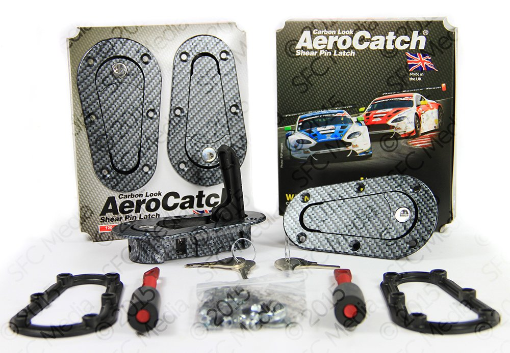 AeroCatch Plus Flush Locking Hood Latch and Pin Kit - Black Carbon Fiber Look - Now includes Molded Fixing Plates - Part # 120-3100 Specialty Fasteners and Components Ltd