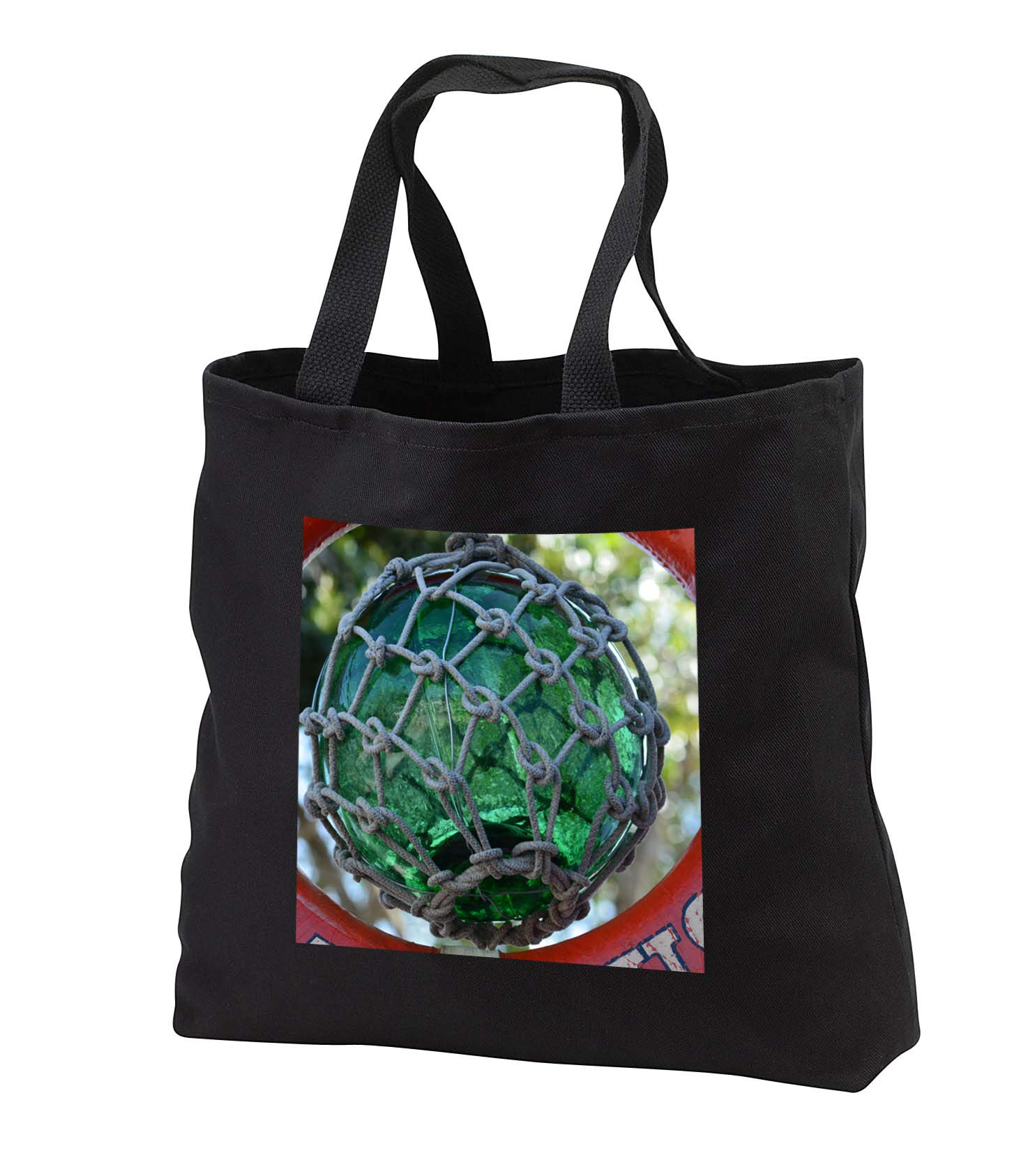 Susans Zoo Crew Florida - green glass fishing float in net nautical - Tote Bags - Black Tote Bag JUMBO 20w x 15h x 5d (tb_294143_3)