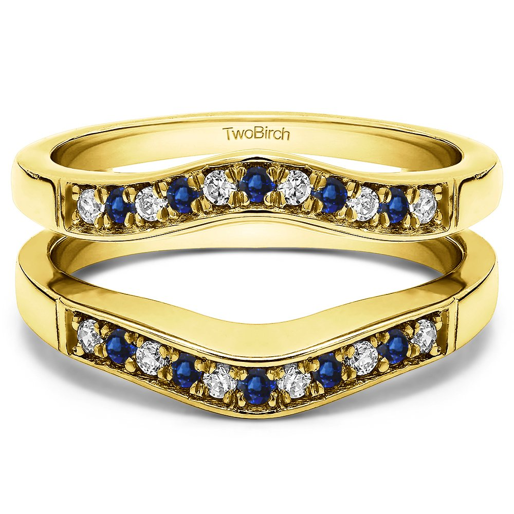 TwoBirch Contour Style Ring Guard with Millgrained Edges with 0.26 cts of Diamonds and Sapphire in Yellow Silver