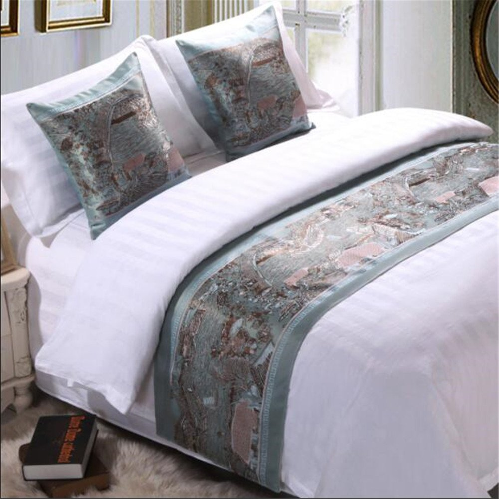 Bed Runner And Pillow Set, Bedroom Hotel Guesthouse Decorative Bedding End Scarf Deluxe 82 x 19 Inch