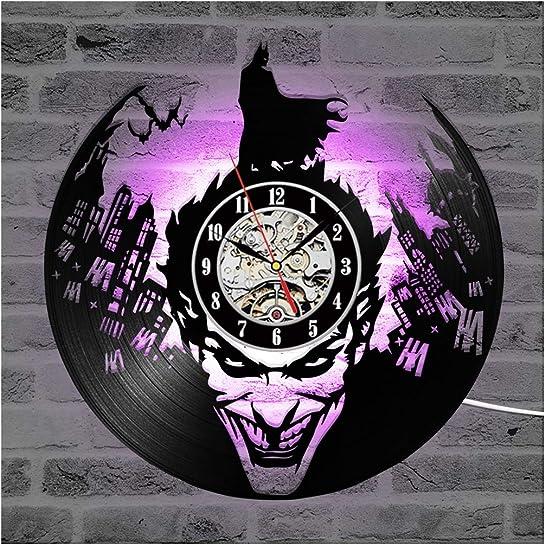 ZhangXF Batman LED Luminous Vinyl Records Wall Clock,12″ Retro Lp Backlight Modern Manual Art Decoration Night Light Clock