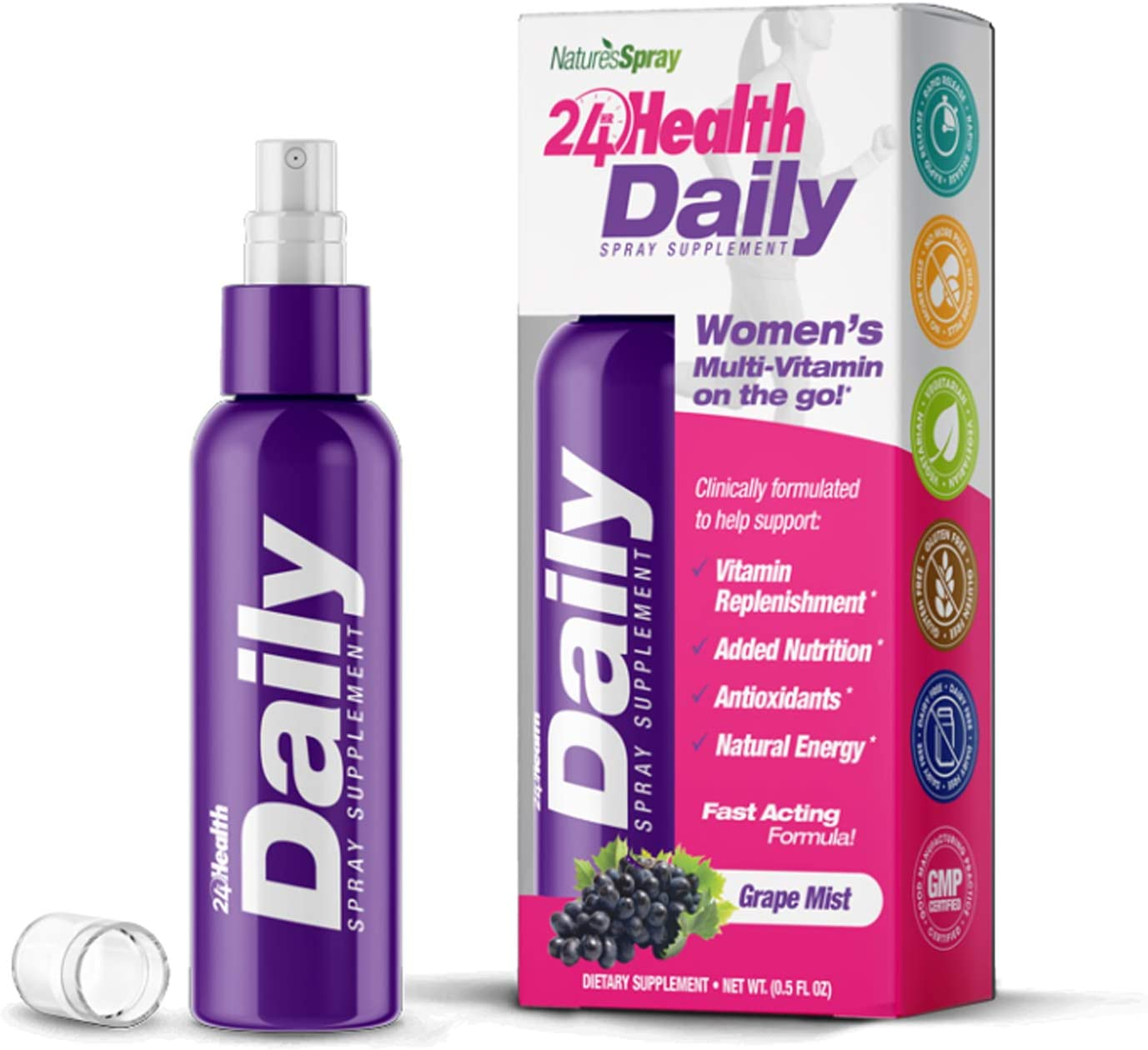 Nature's Spray: Women's Daily Multi-Vitamin | Rapid Release Liquid Spray Supplement, Must Shake Well | 900% More Effective Vs. Pills | Natural Energy, Antioxidant, Fast Acting, (Vegan, Dairy-Free)