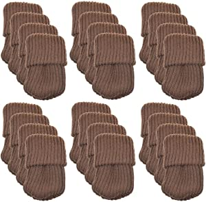 CellCase 24pcs Washable Reusable Knitting Wool Furniture Socks/Chair Leg Floor Protector (Brown)