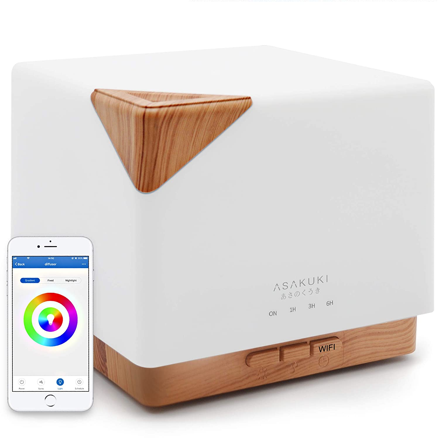 ASAKUKI Smart Wi-Fi Essential Oil Diffuser- App Control Compatible with Alexa, 700ml Aroma Humidifier for Relaxing Atmosphere in Bedroom and Office-Better Sleeping&Breathing