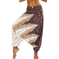 Nuofengkudu Dam haremsbyxor, hippie, säckiga, boho-mönstrade, high waist, smocked waist, low crotch, lounge wide, byxor…