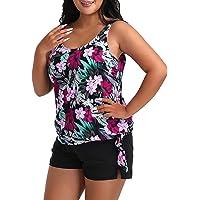 FULLFITALL Women's Plus Size Tankini Swimsuits Two Piece Bathing Suits Printed Tummy Control Swimwear with Boyshorts…