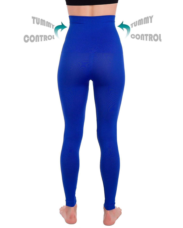 3b532ddcec Homma High Waist Tummy Compression Control Slimming Leggings Tights  (Medium, Royal Blue) at Amazon Women's Clothing store: