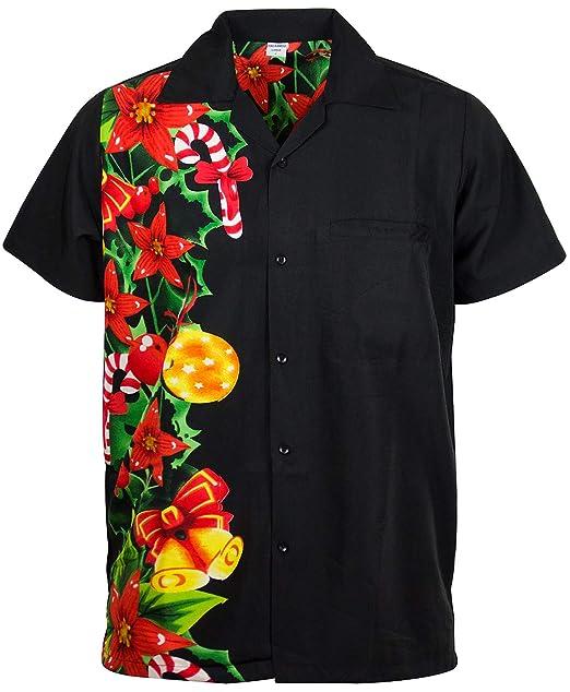 142edd009 Image Unavailable. Image not available for. Color: King Kameha Funky Hawaiian  Shirt, ChristmasWedding, Black, XS