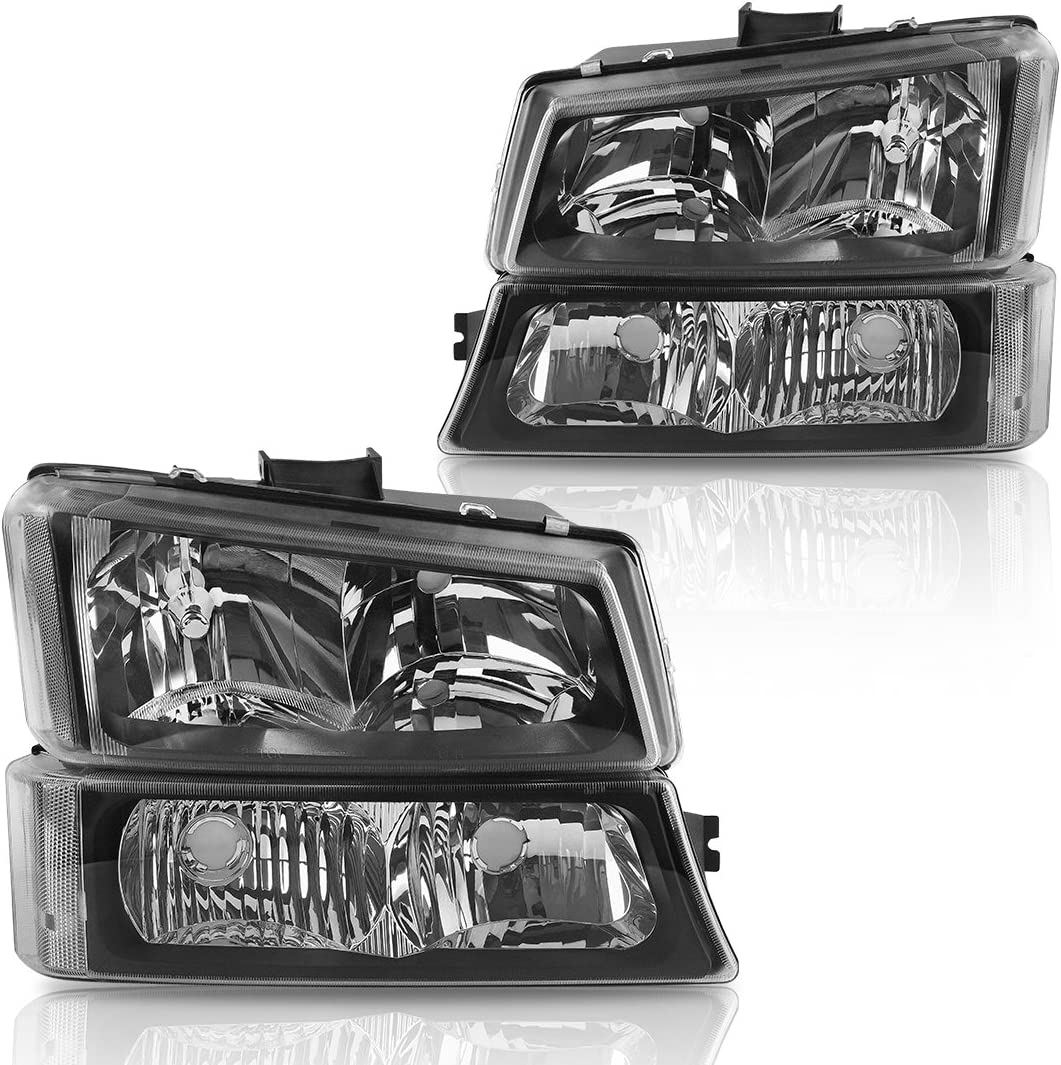 Chevy 07-14 Silverado Black Housing Replacement Headlights 1500 2500 3500