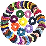 Mcupper 60 Pcs Hair Scrunchies Velvet Elastic Hair Bands Scrunchy Hair Ties Ropes Scrunchie for Women Girls Hair Accessories - 60 Assorted Colors Scrunchies