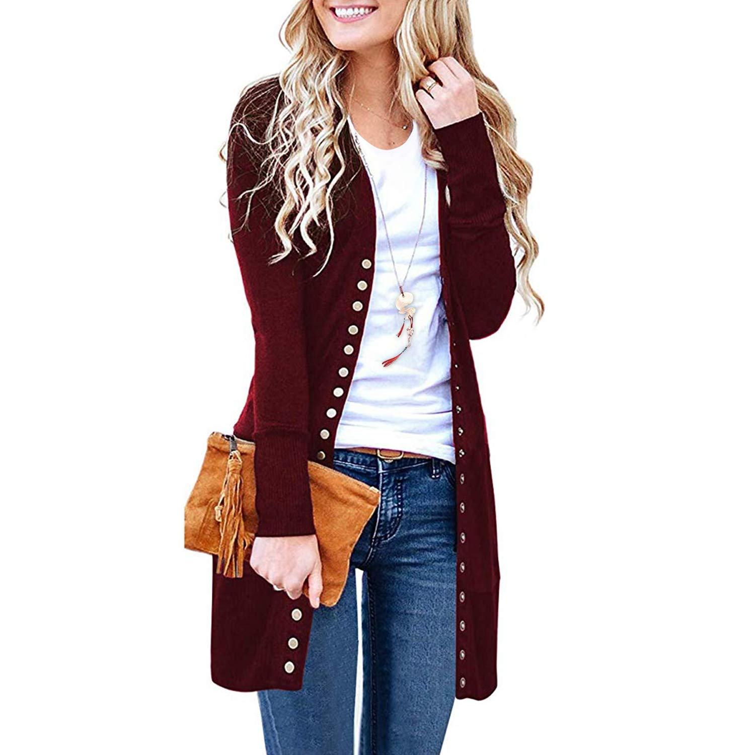 Longburgundy SATINATO Sweaters for Women,Cardigan Sweaters for Women, Long Sleeve Soft Basic Knit Solid color Cardigan Sweater