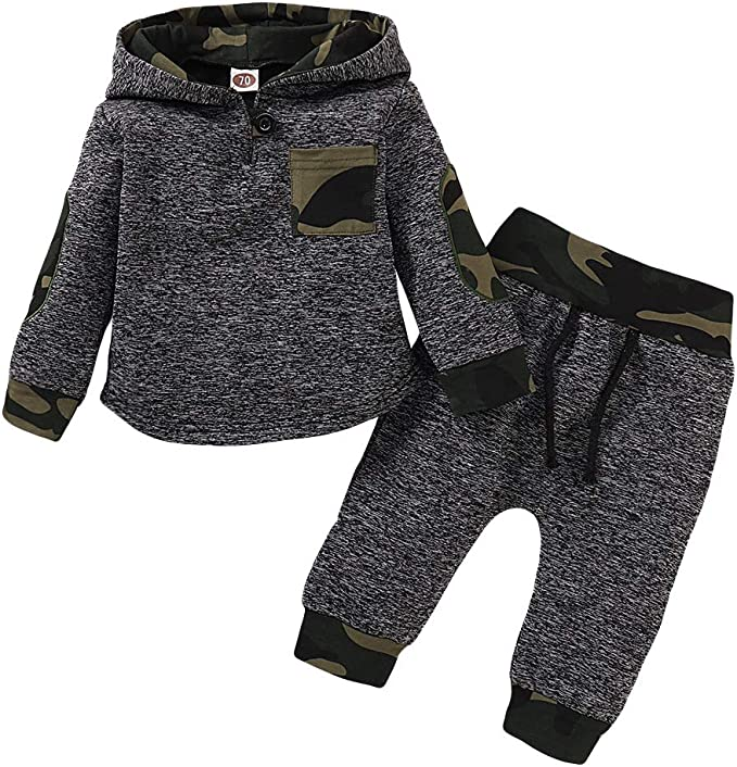 Edjude Baby Boys Clothing Sets Hoodie Tops Sweatshirts Long Sleeve Pants Sets Autumn Outfits 2 Piece Toddler 0-4 Years