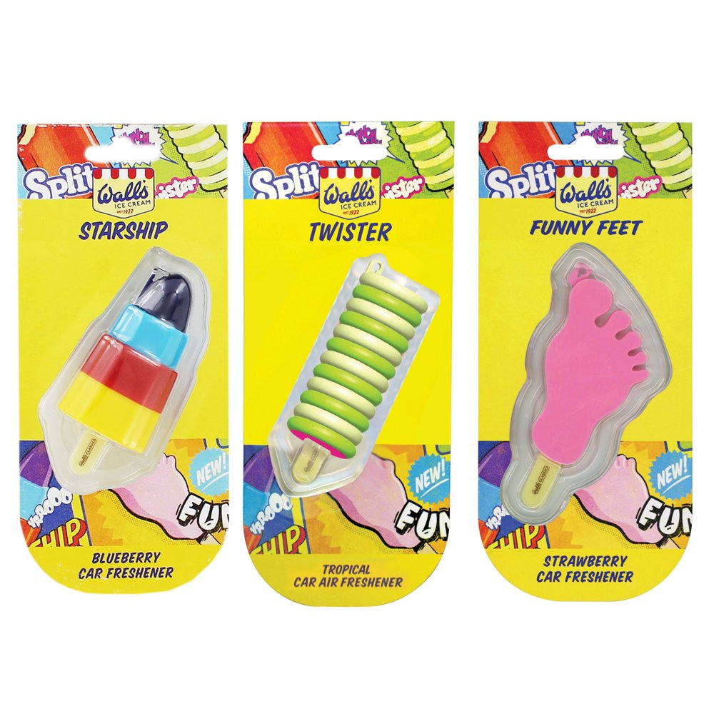 Assorted Walls Ice Cream Car Air Freshener 3 Pack - Twister + Funny ...