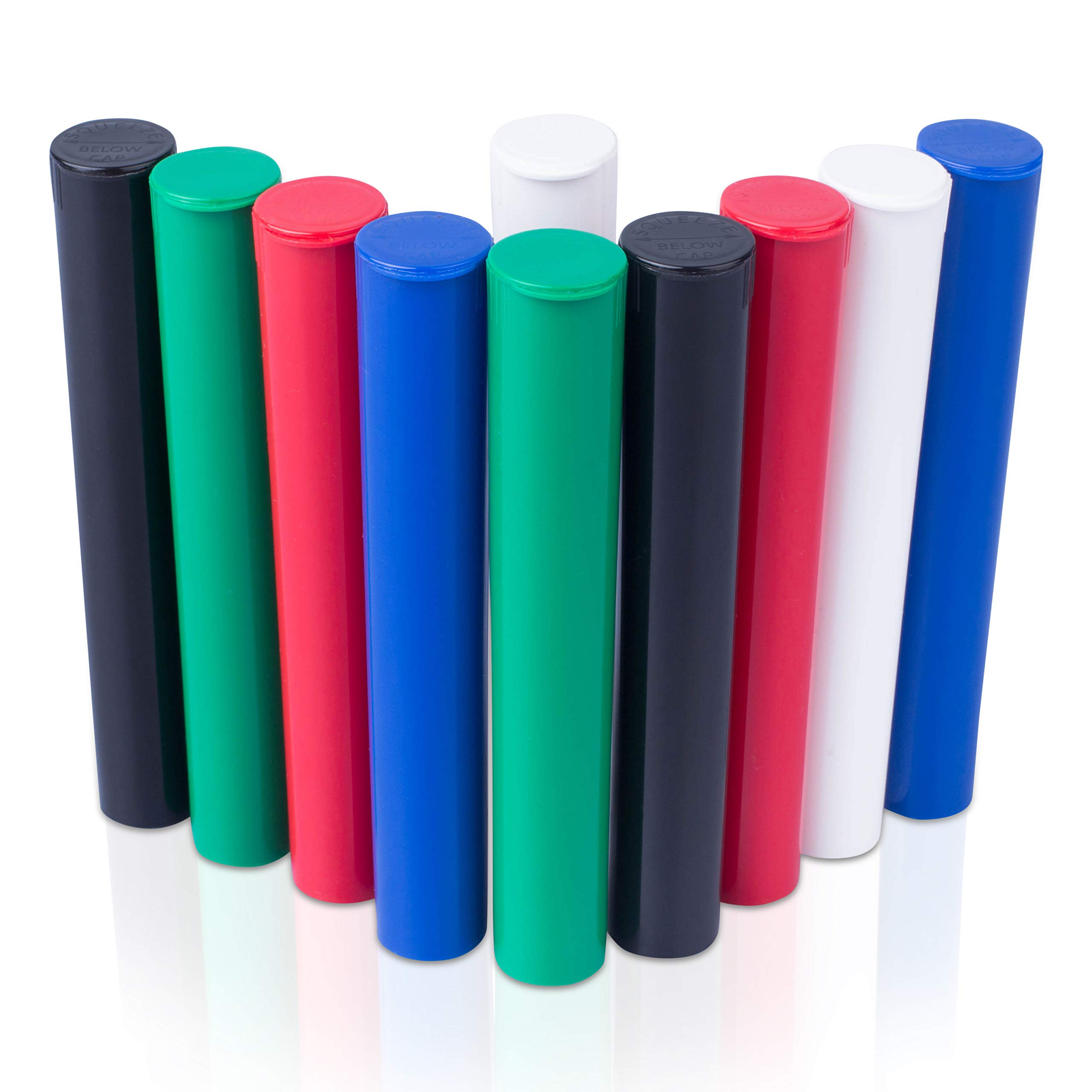 Top Class Ventures Doob Tube Smell Proof Containers - Joint Blunt Holder For Pre Rolls - Airtight Waterproof Storage Case - 4.5'' 10 Pack Mixed Colors Black Green Blue White Red by Top Class Ventures