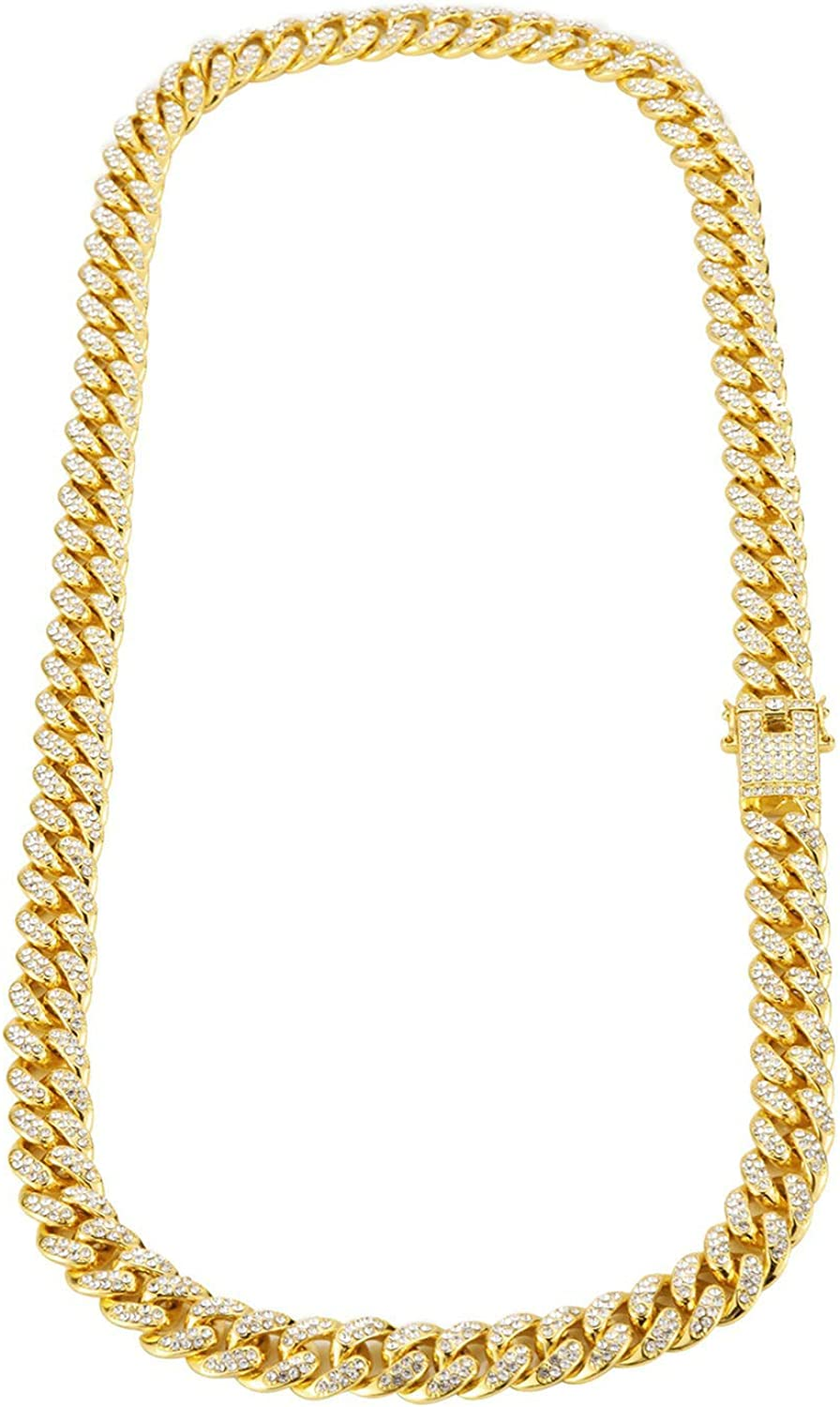 KnSam Mens Chain Necklace Alloy Personalized Necklace Bar Curb Chain Cubic Zirconia White
