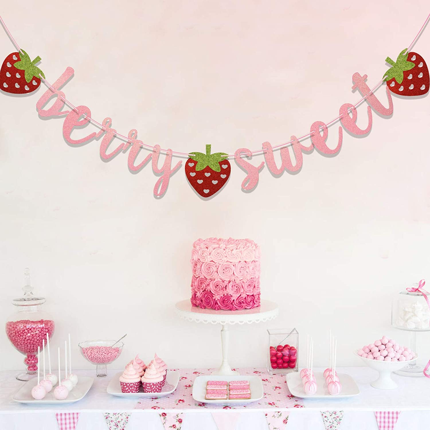 Sweet One Twotti Frutti Strawberry Birthday Decor Two Sweet Berry Sweet Banner One in a Melon Glitter Strawberry Banner
