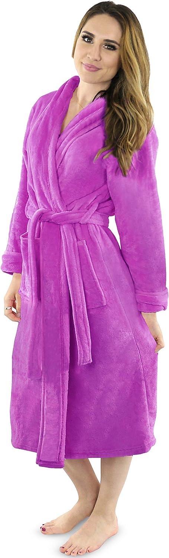 NY Threads Womens Fleece Bathrobe Shawl Collar Soft Plush Robe Spa Robe