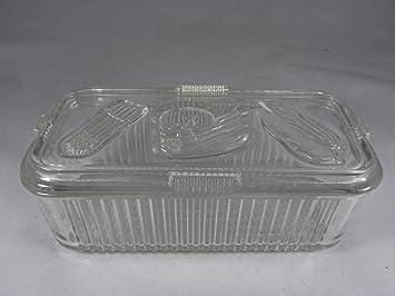 Amazoncom Vintage Federal Glass Embossed Vegetable Storage
