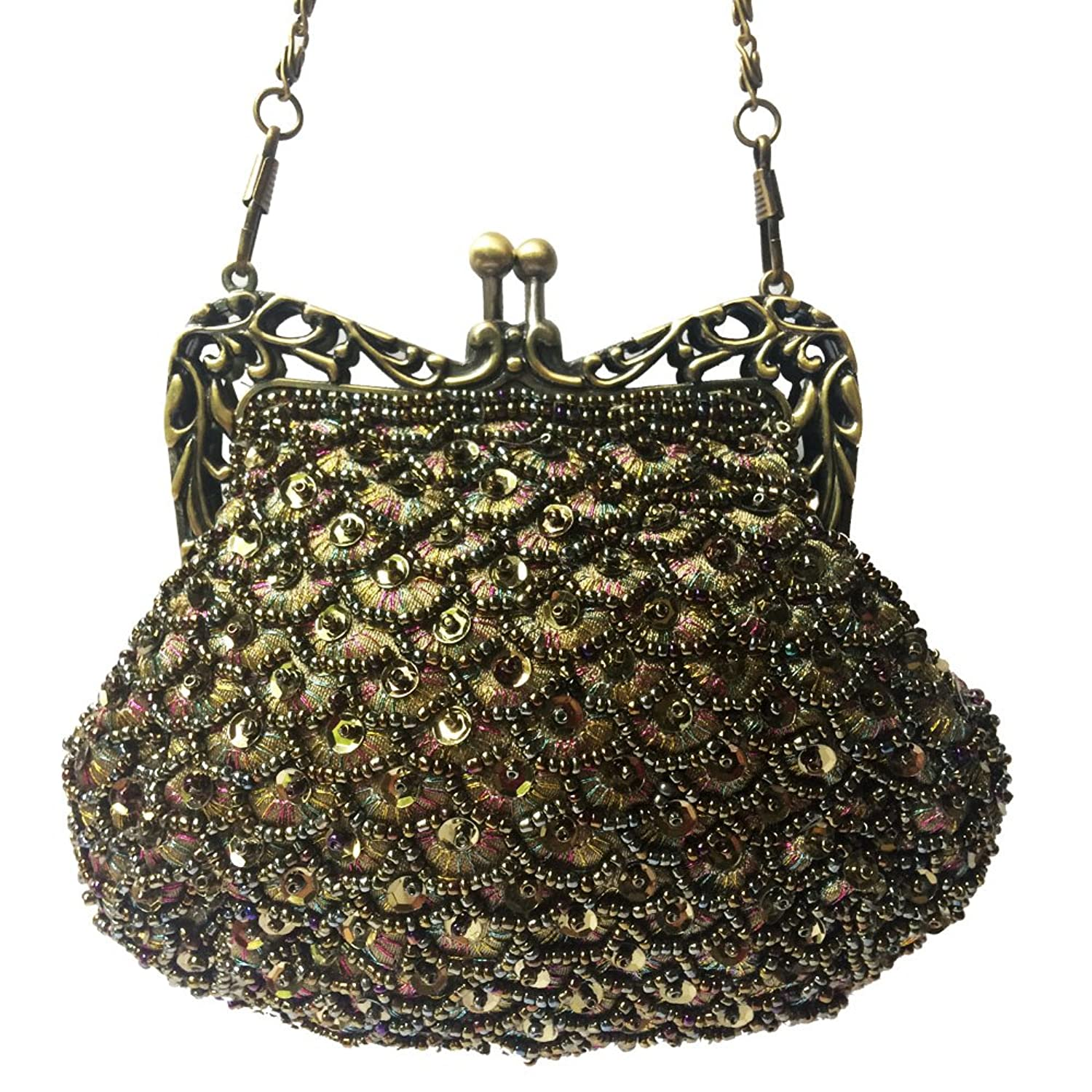 Great Gatsby Style Fully Beaded Vintage Evening Bag Party Clutch Small Coin Purse (olive) $19.97 AT vintagedancer.com