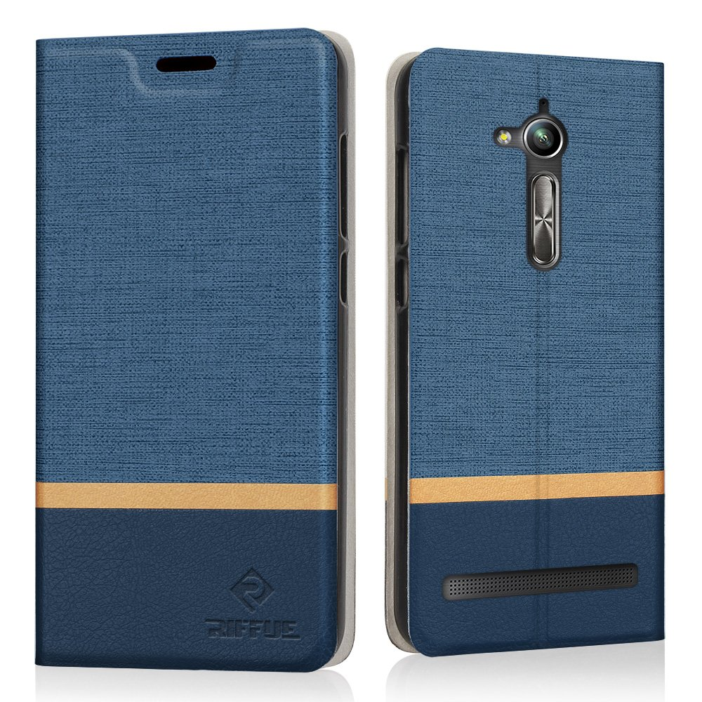Funda ZenFone Go ZB500KL, Riffue Carcasa PU Ultra Delgada con Cartera de Estilo Libro Vaquero Protectora de Folio Flip Case para Asus ZenFone Go ...