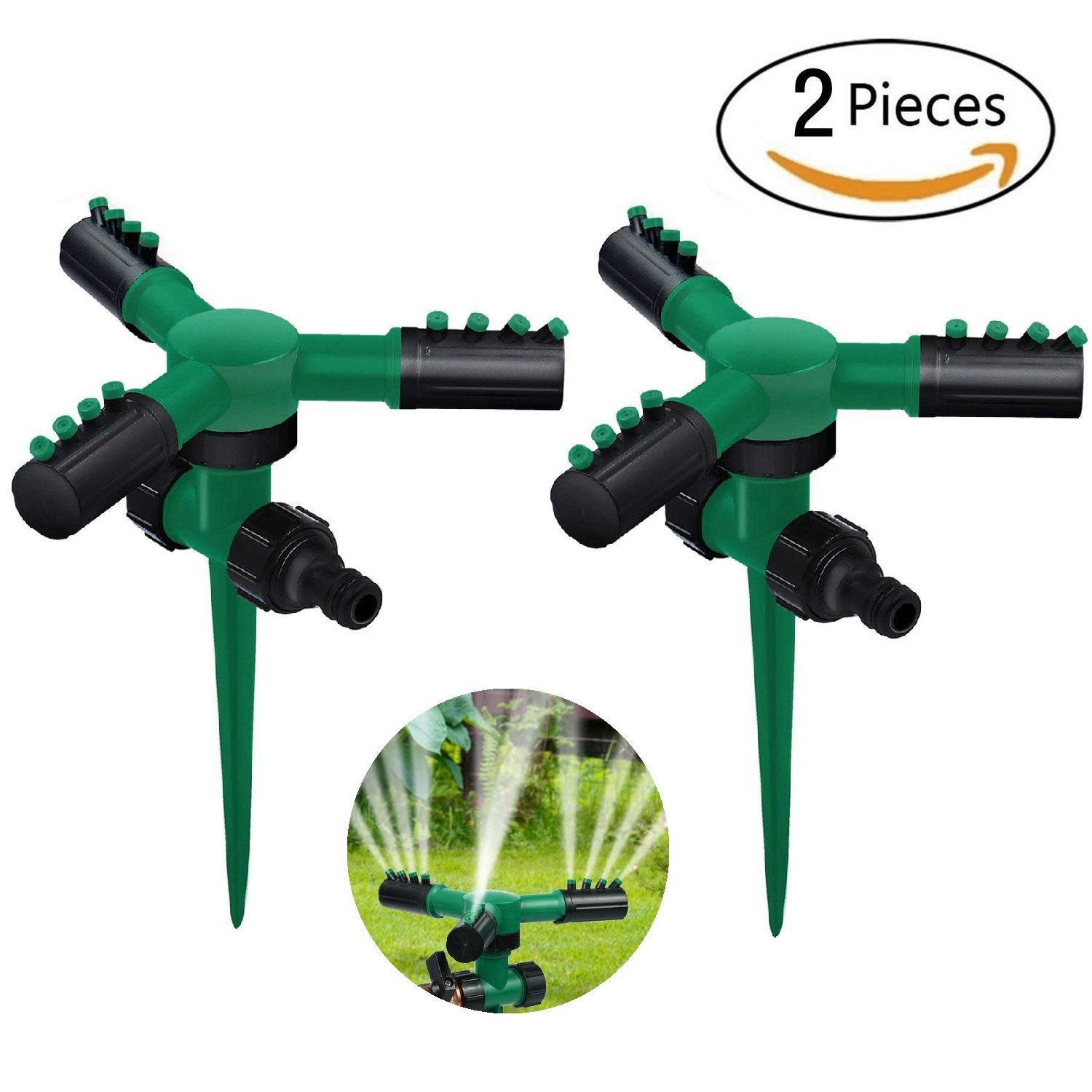 Anndason 2 Pcs Garden Lawn Sprinklers,Automatic 360° Rotating Adjustable Garden Water Lawn Sprinkler System with Durable 3 Arm Spray and Spike Base