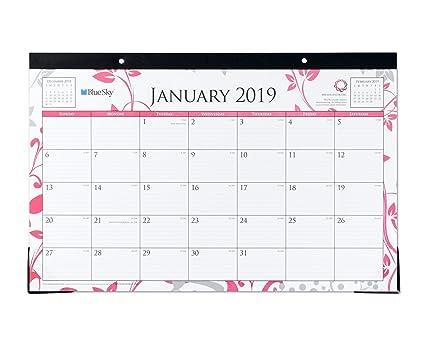 Breast Cancer Awareness Calendar 2019 Amazon.: Blue Sky 2019 Monthly Desk Pad Calendar, Ruled Blocks