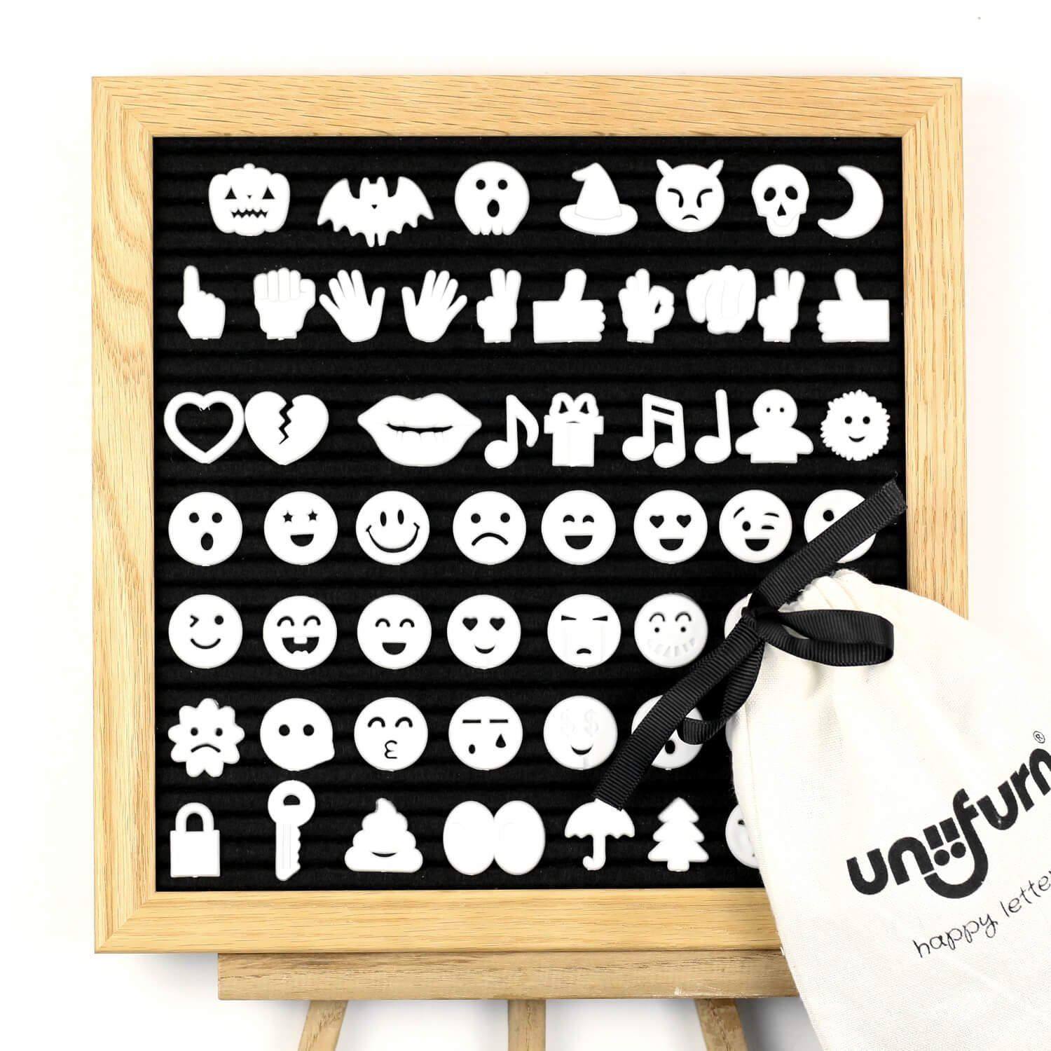Uniifurn 10x10 Changeable Letter Board with Oak Wood Frame, Black Felt Message Sign, Announcement Word Bulletin Board + 370 Unique Plastic Characters & Emojis for Menu or Office Quote Signs DT