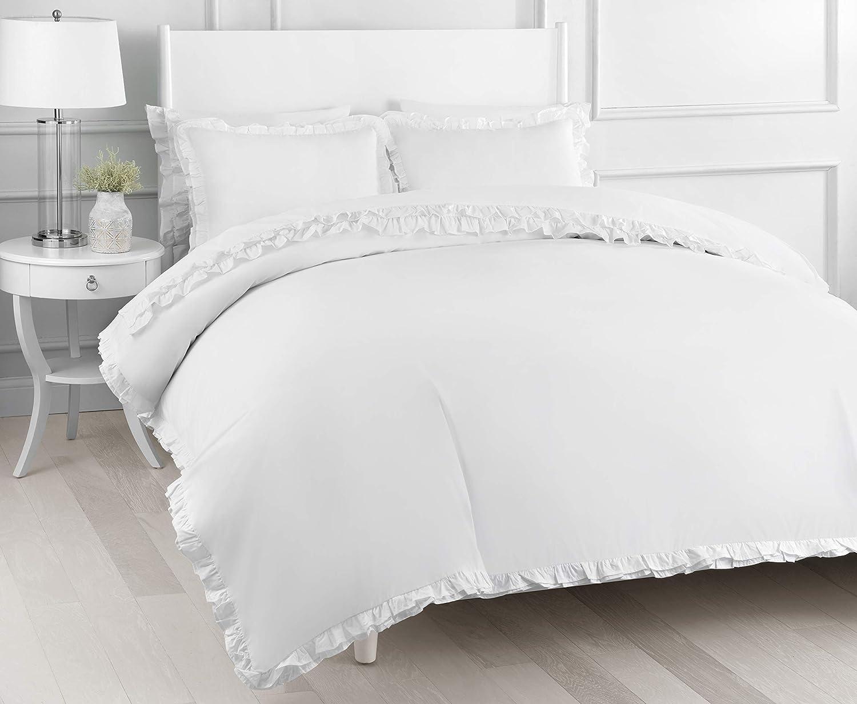 Melange Home Percale Cotton Double Ruffle TW Duvet Set, Twin, White