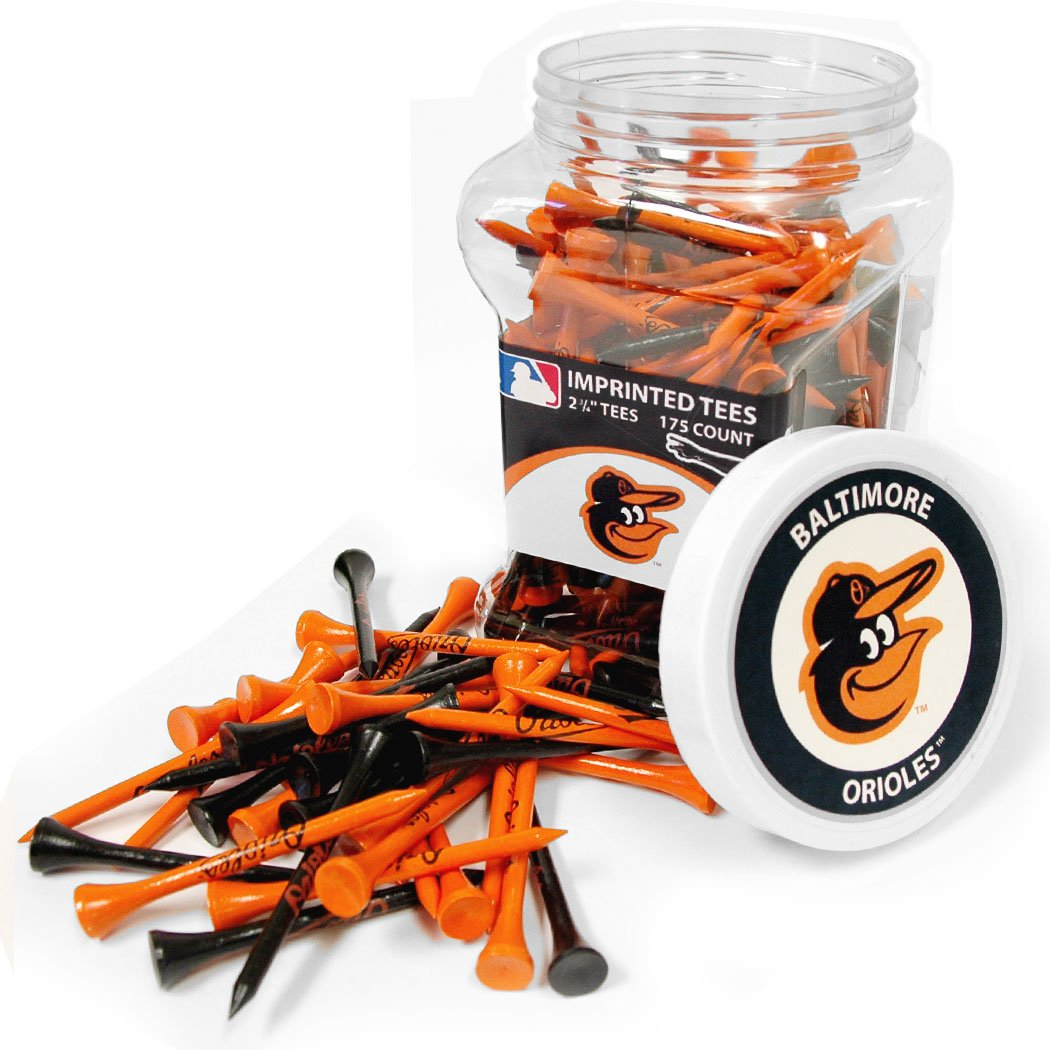Team Golf MLB Baltimore Orioles 2-3/4'' Golf Tees, 175 Pack, Regulation Size, Multi Team Colors