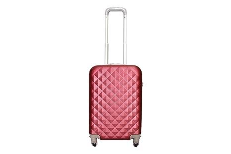 aec91078b54 Maleta pequeña para cabina rígida 4 ruedas 360º gira equipaje de mano Low  cost (Granate)  Amazon.es  Equipaje