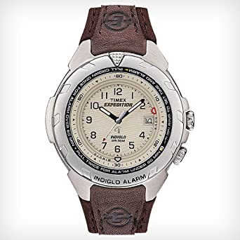 d3e871433 Amazon.com: Men's Timex Expedition | Brown Leather Strap | Cream ...