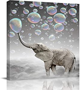 Square Canvas Wall Art Painting for Hotel Office Home Decor,Funny Elephant with Bubble Grey Pattern Artworks for Bedroom Living Room Bathroom,Stretched by Wooden Frame,Ready to Hang,12 x 12 Inch