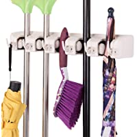 Hirai Broom Mop Holder Wall Mounted Hanger Organizer Stand, 5 Positions with 6 Hooks Holds Up to 11 Tools (Grey)