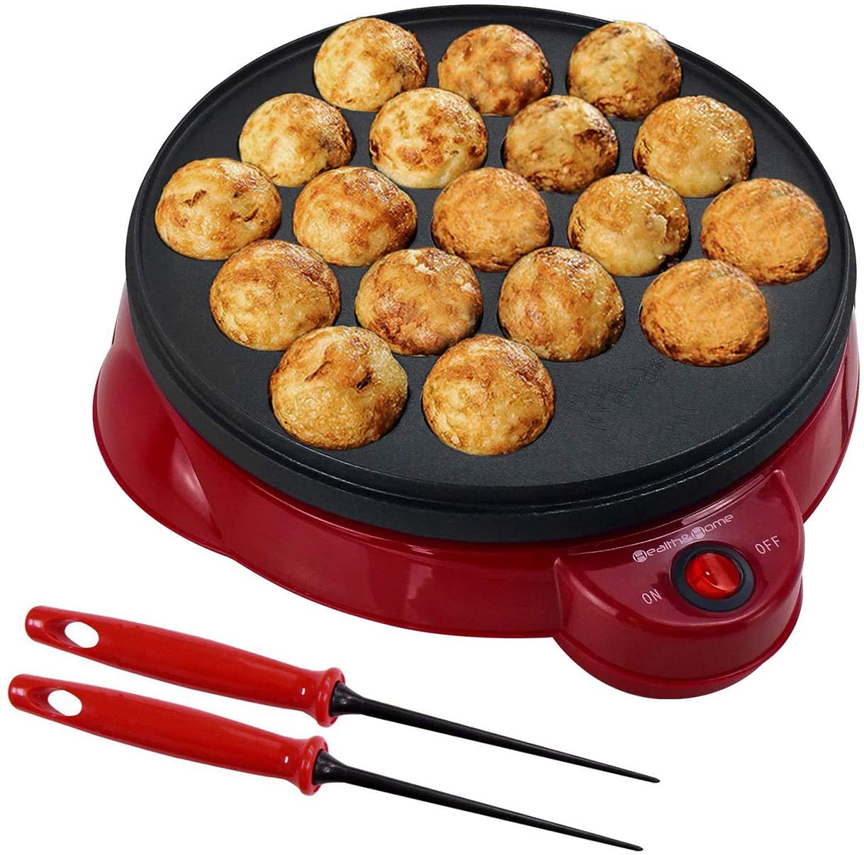 Health and Home Electric Takoyaki Maker With Free Takoyaki Tools - Specialty & Novelty Cake Pans for Takoyaki Octopus Ball, Cake Pop, Ebelskiver, Aebleskiver - Electric Takoyaki Grill - Portable, Compact, Easy Clean