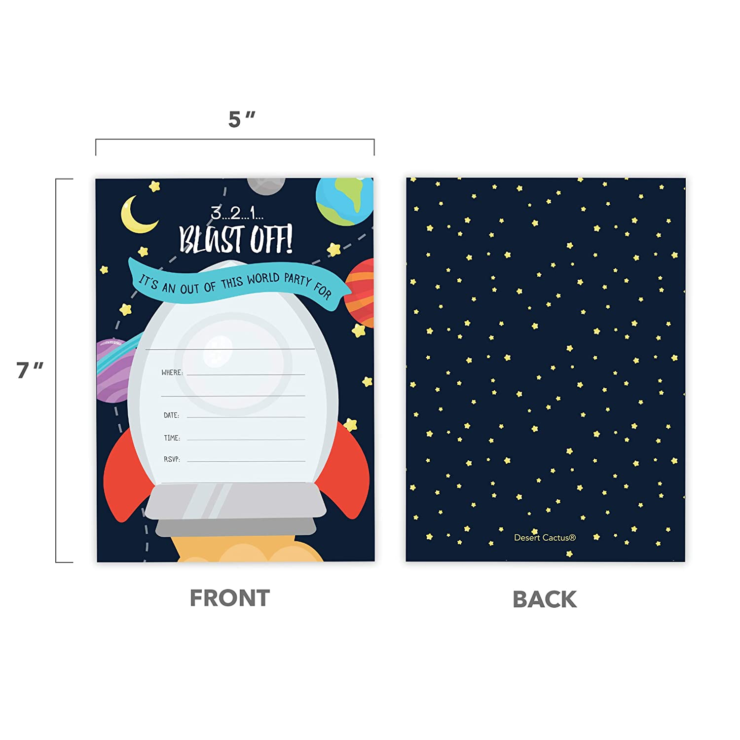 10 Count With Envelopes Boys Girls Kids Party 10ct Space Style 2 Happy Birthday Invitations Invite Cards
